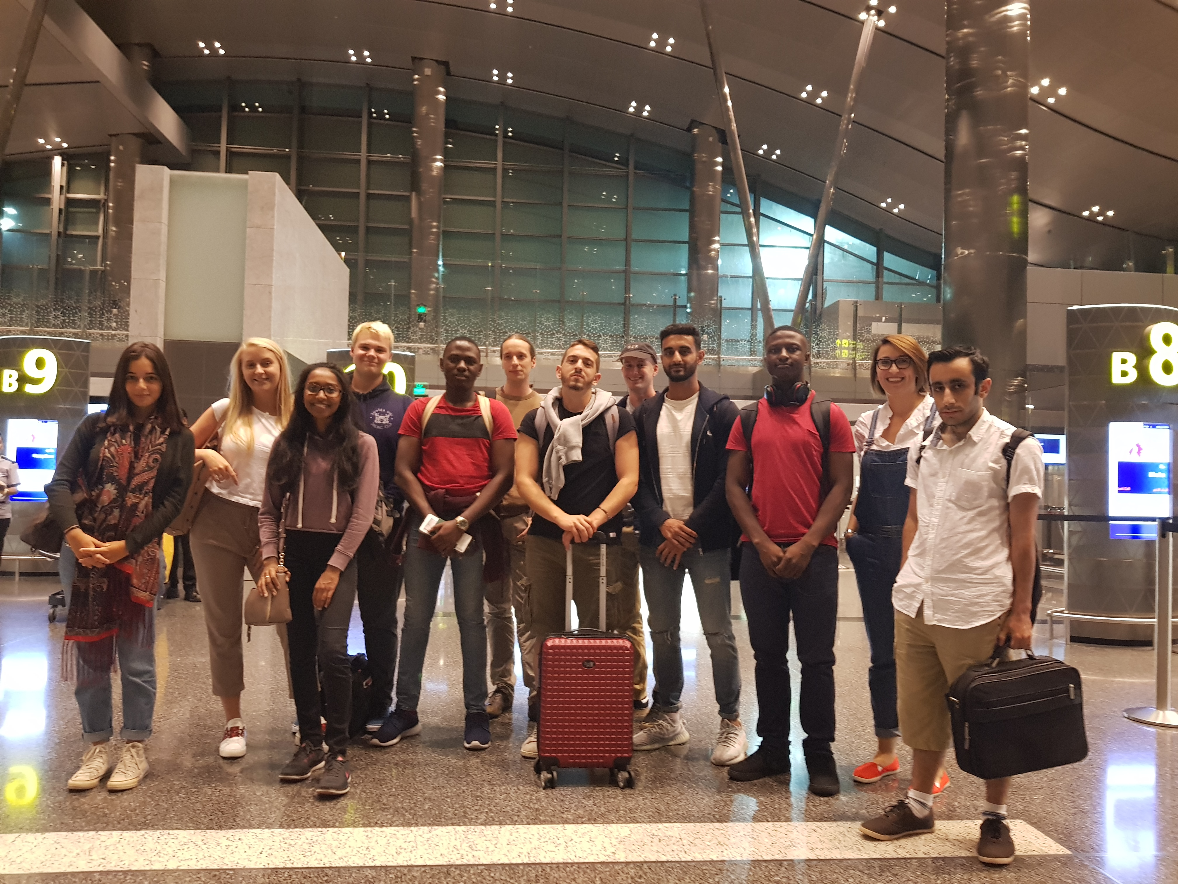 Business School and Engineering students at the airport, ready for their trip to Malaysia.