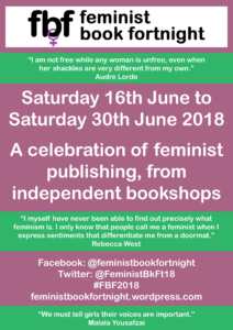 Flier for Feminist Book Fortnight 16-30 June 2018