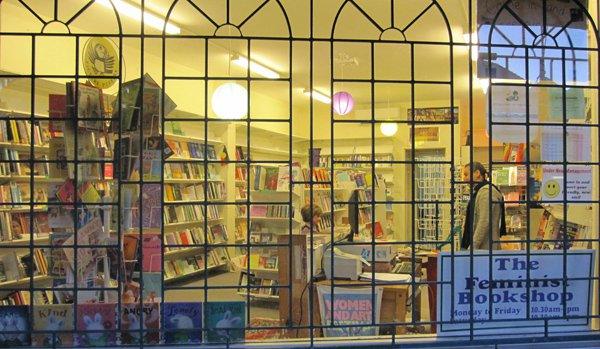 Close up of Feminist Bookshop through windown