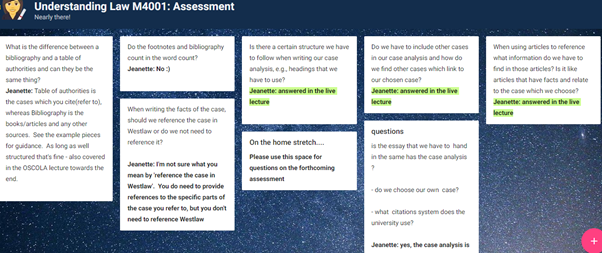 Screenshot for padlet wall with Q&As on assessment.