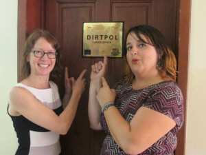 Steph and Claire outside the DirtPol office