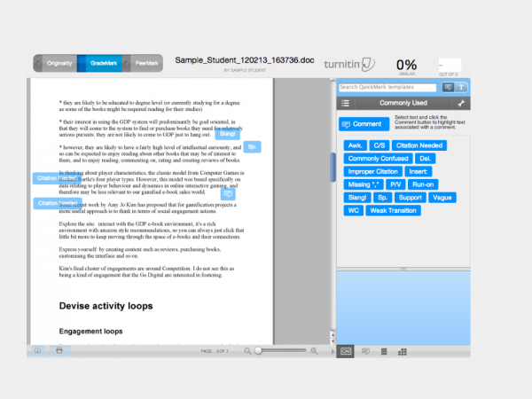 Grademark showing the quickmarks tool being used to annotate student work