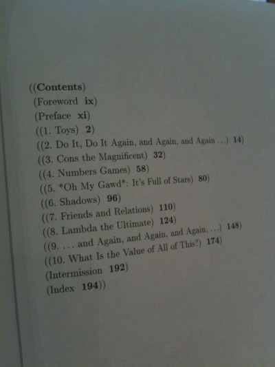 book contents page