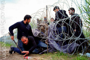 Syrian refugees sneaking into Hungary