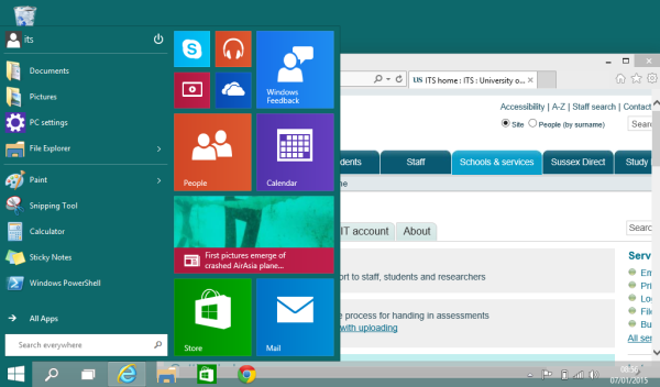Screenshot of the Windows 10 home screen