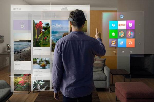 Microsoft image of a man using a virtual reality headset