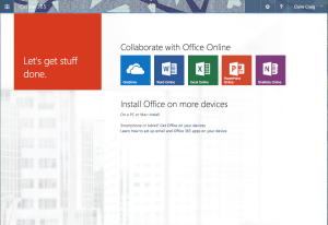 Screen shot of Office 365 home