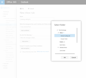 7 inbox rule - choose folder