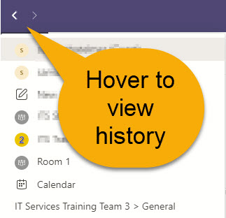 Microsoft Teams back button shows history of visited pages