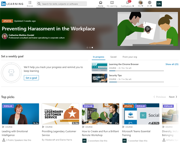 Your LinkedIn Learning homepage will be customised to your needs and interests