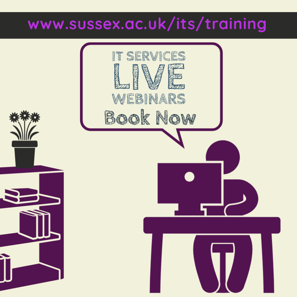 Person sitting at desk with bubble saying IT Services Live webinars - book now