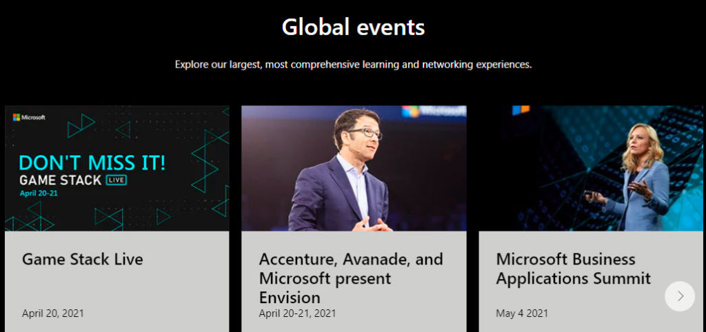 Microsoft Global Events page with titles of Game Stack Live, Accenture and Microsoft Business Applications Summit