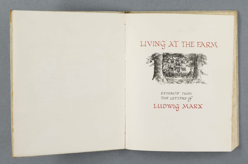 Image of title page of Ludwig Marx's 'Living at the farm' includes a black & white watercolour image of the farmhouse through trees'