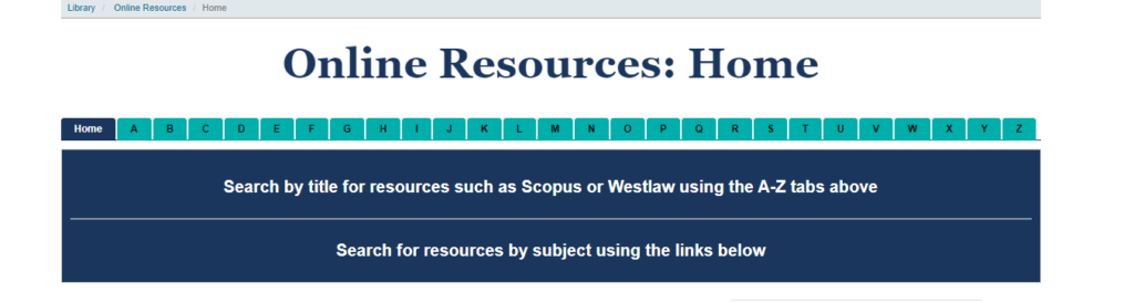 Screenshot of the University of Sussex's Library online resources homepage