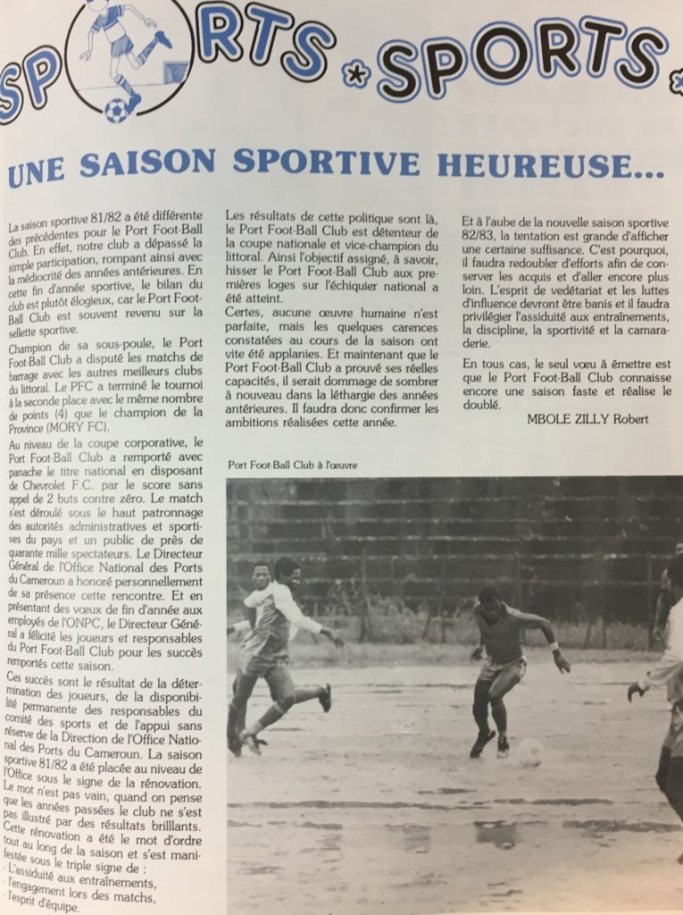 Image of sports page with black and white photo of a football match