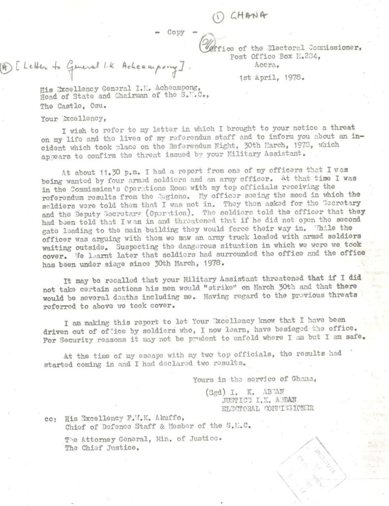 Image of letter written on a typewriter from I.K. Abban to I.K Acheampong
