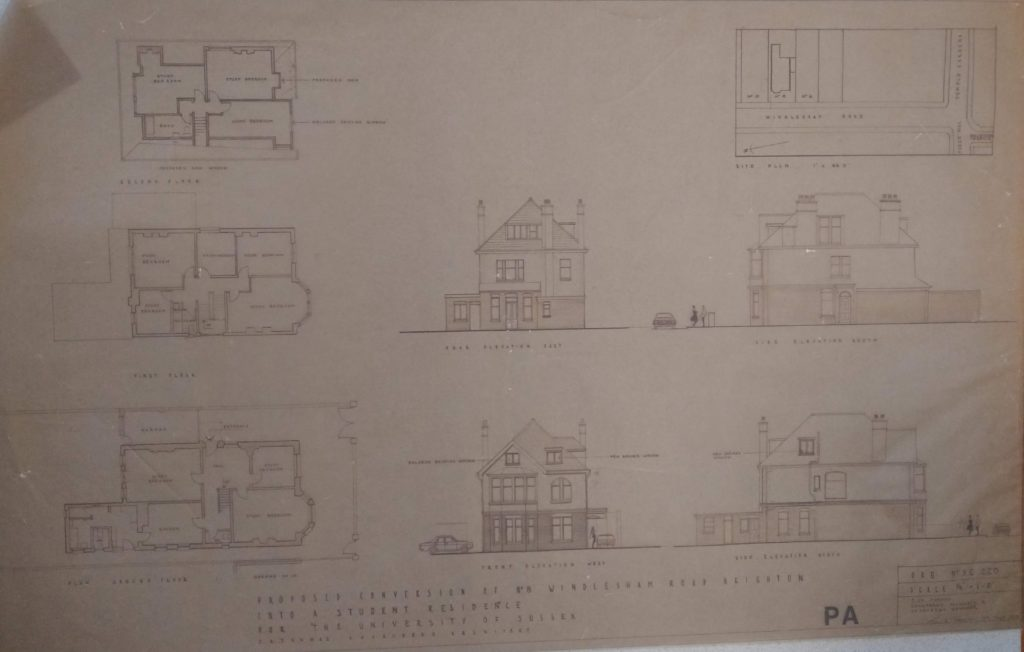 Image of an architectural plan for a University of Sussex building