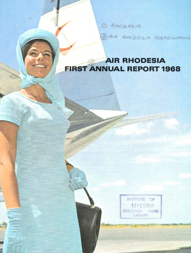 Cover of 1968 Annual report image shows a female air steward in a blue uniform in front of an aeroplane
