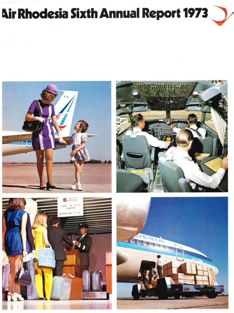 Front cover of the 1973 annual report with full colour images of airline staff, and customers