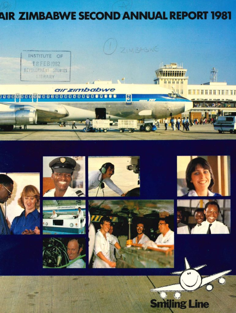 Front cover of the 1981 annual report with full colour images of airline staff, and customers