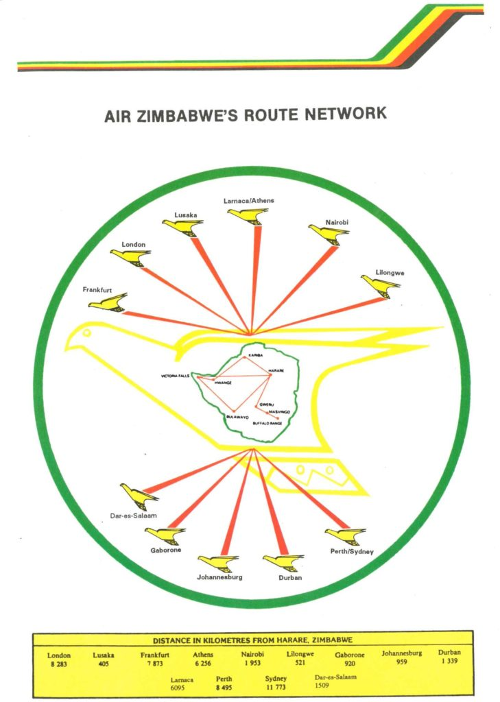 Image of the route network of Air Zimbabwe