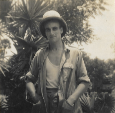 Black and white image of Danny's Great uncle in Burma in