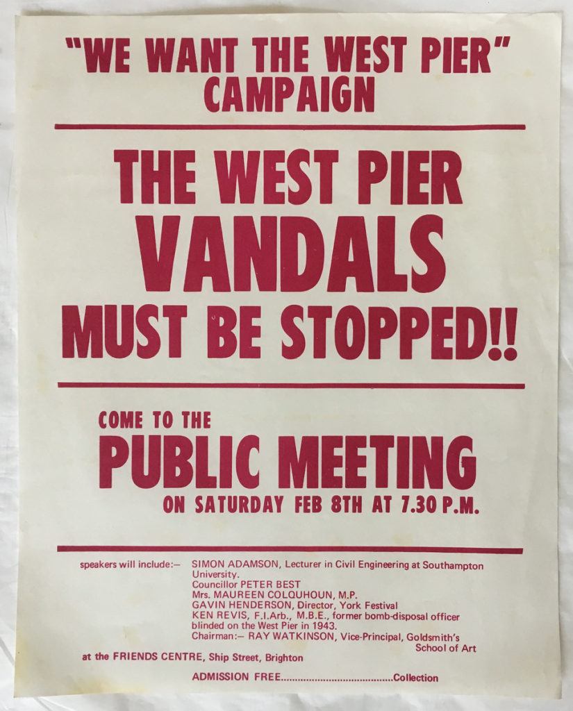 Image of poster with white background and red writing, advertising Maureen Colquhoun speaking for the Save the West Pier campaign.