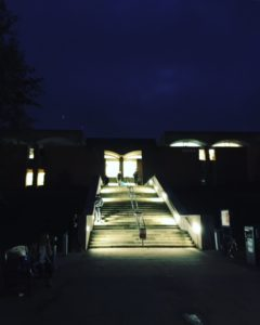 Library steps at night