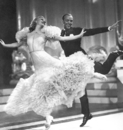 Fred Astaire and Ginger Rogers dancing together