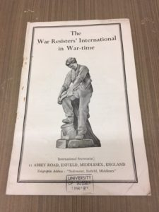 This is an example from the War category. It is a pamphlet called The War Resisters' International in War-Time