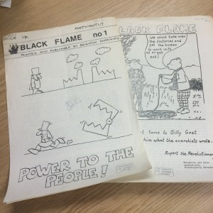 This is an example from the Popular and Counter Culture category. It is two pages of a leaflet called Black Flame