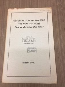 This is an example from the Post World War 2 World Order category. It is a pamphlet called Co-operation in industry, the next ten years by Herbert Dove
