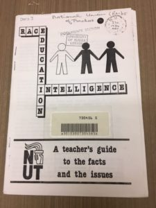 This is an example from the Trade Unions category. It is a booklet by the National Union of Teachers called Race, Education, Intelligence.