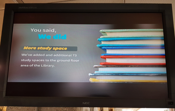 New study spaces notice on the Library's plasma screens