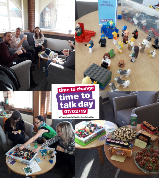 A combined image of Library staff on Time to Talk Day 2019, showing activities like Lego building, and cakes and models.
