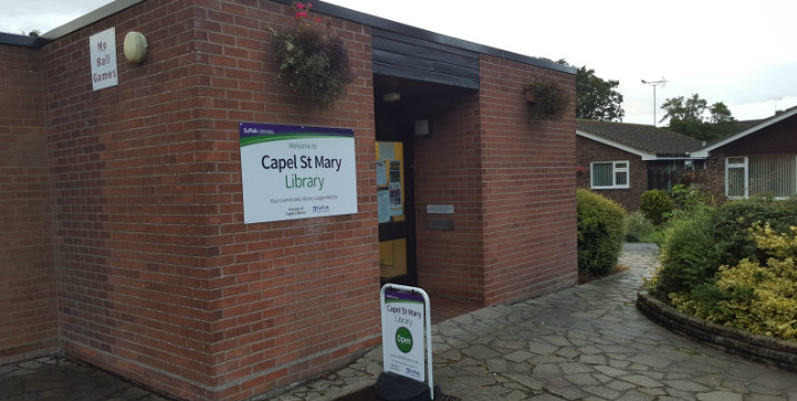 The outside of Capel St Mary Library