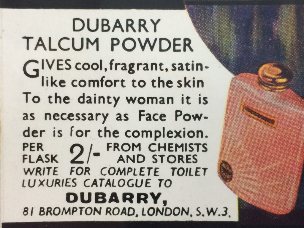An advert for Dubarry talcum powder