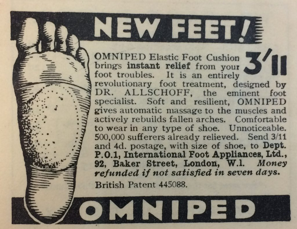 An advert for Omniped elastic foot cushion