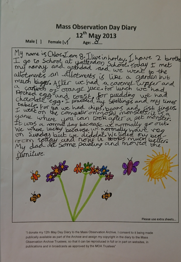 Example of a child's 12th May Day diary and drawing.