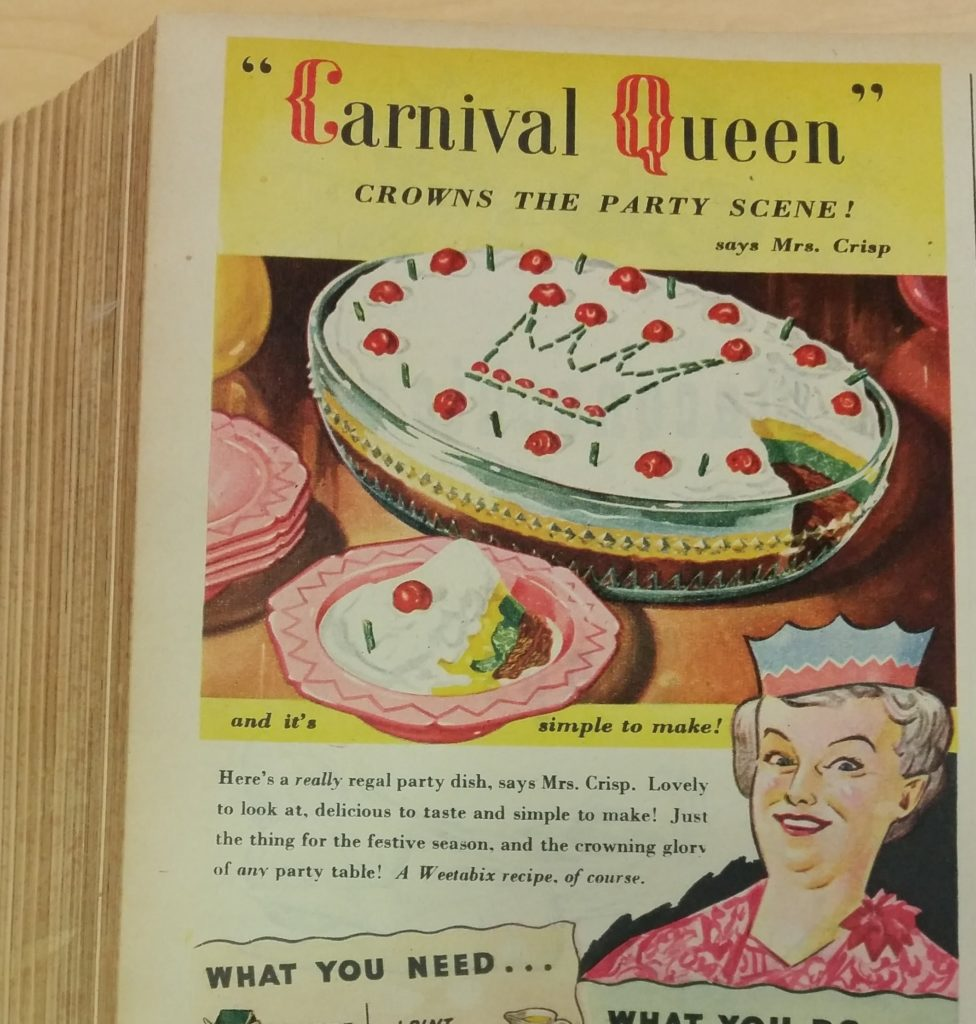 "A ""Carnival Queen"" recipe from Woman's Own magazine, December 1950"