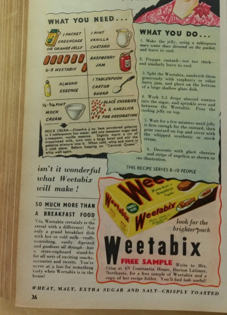 A recipe for Weetabix Trifle from Woman's Own magazine, December 1950