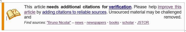 Screenshot from Wikipedia showing that the article needs additional citations for verification