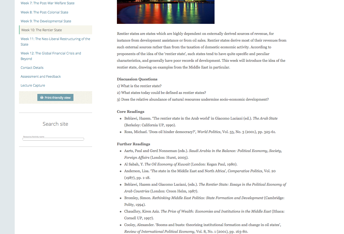 Reading List on VLE