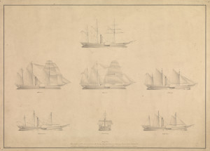 'Diagram Elucidating the principle on which the Honble East India Company's Steam Vessel Atalanta is Rigged, Displaying the greatest spread of Canvas, with least resistance from Masts', 1836. The Atalanta and Berenice could function under sail, steam or both, depending on prevailing wind and conditions. (© National Maritime Museum, Greenwich, London.)