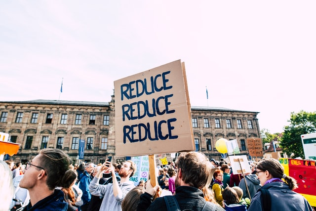 Climate strikes protestors, one holding a board that reads Reduce Reduce Reduce