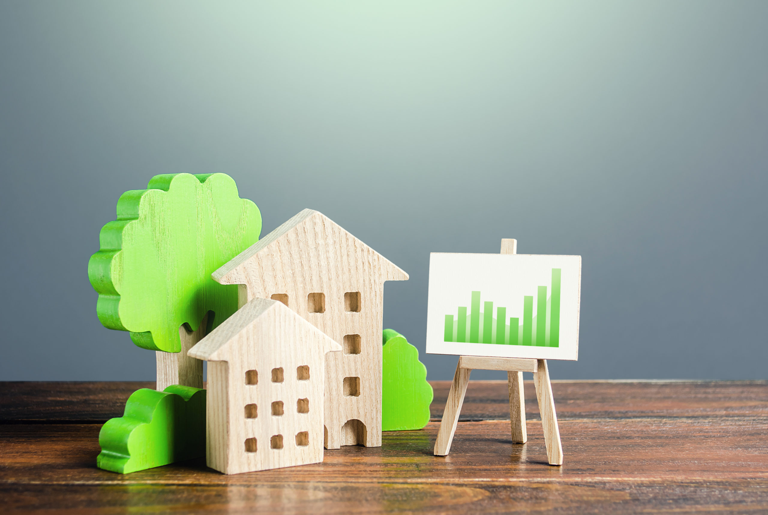 Wooden Toy Houses and trees and chart