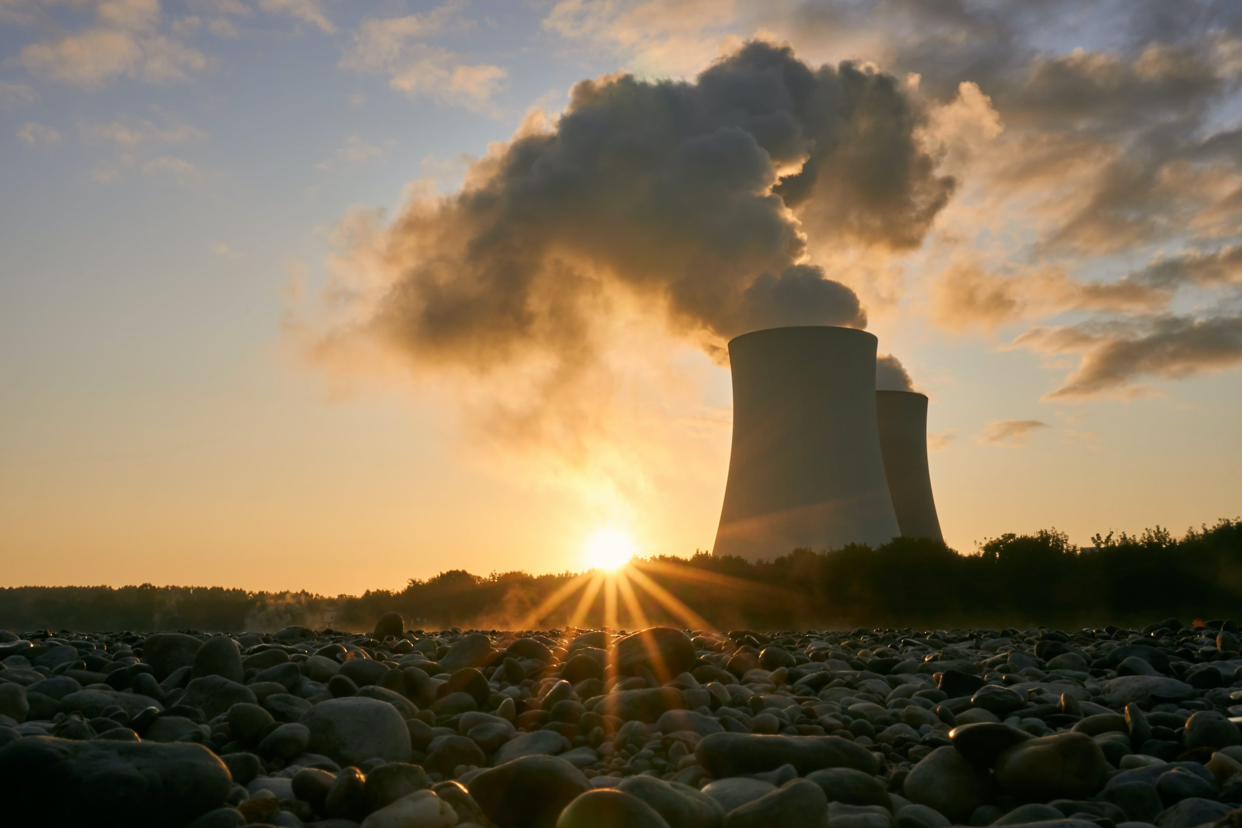 Nuclear cooling tower in countryside