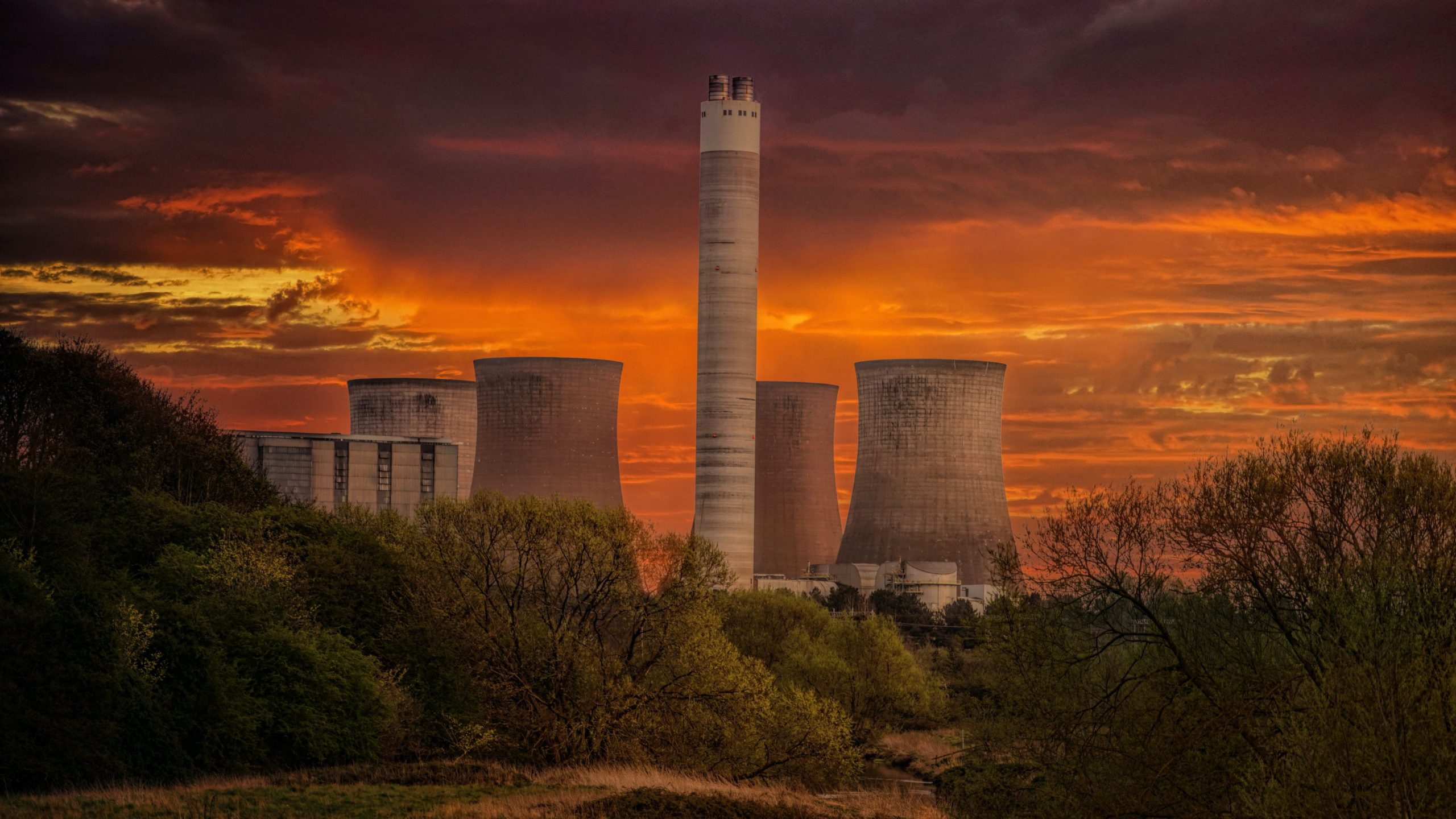 Nuclear cooling towers at sunset
