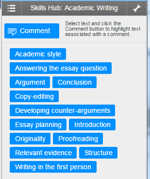 Screenshot of Quick Marks to support study skills