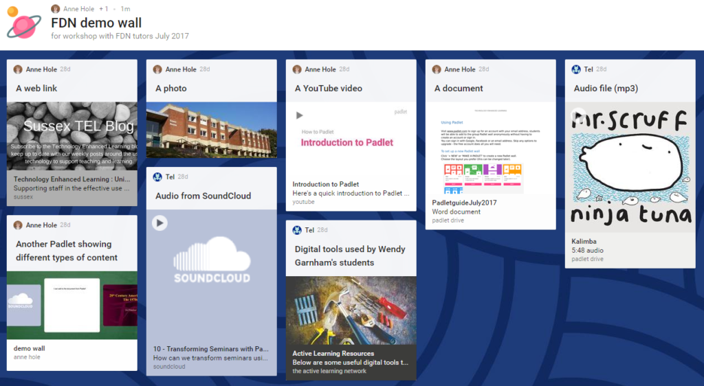 An example of a Padlet showing some of the content that can be posted.